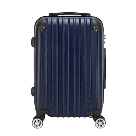 CLEARANCE! 20-inch Suitcase with 4 Rolling Wheel, Portable Lightweight Hardshell Luggage with TSA Lock, Waterproof Carryon Suitcase Set, Large Capacity Storage for Traveling, Navy Blue, S13392 Plaid Large Rolling Luggage