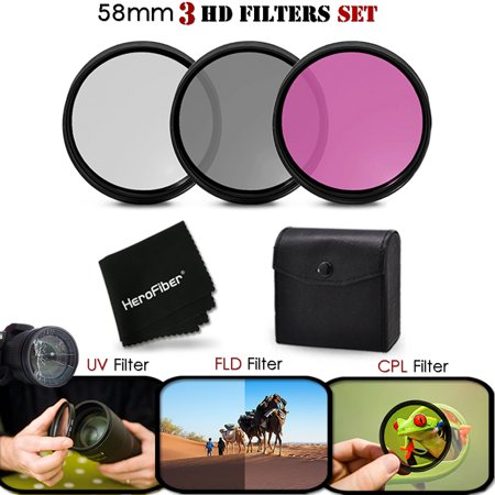 3 Piece High Definition 58mm Filter SET with Protective Case for CANON EOS REBEL T6i T6S T5 T5i T4i T3 T3i T2i T1i EOS M EOS M2 EOS 70D 60d
