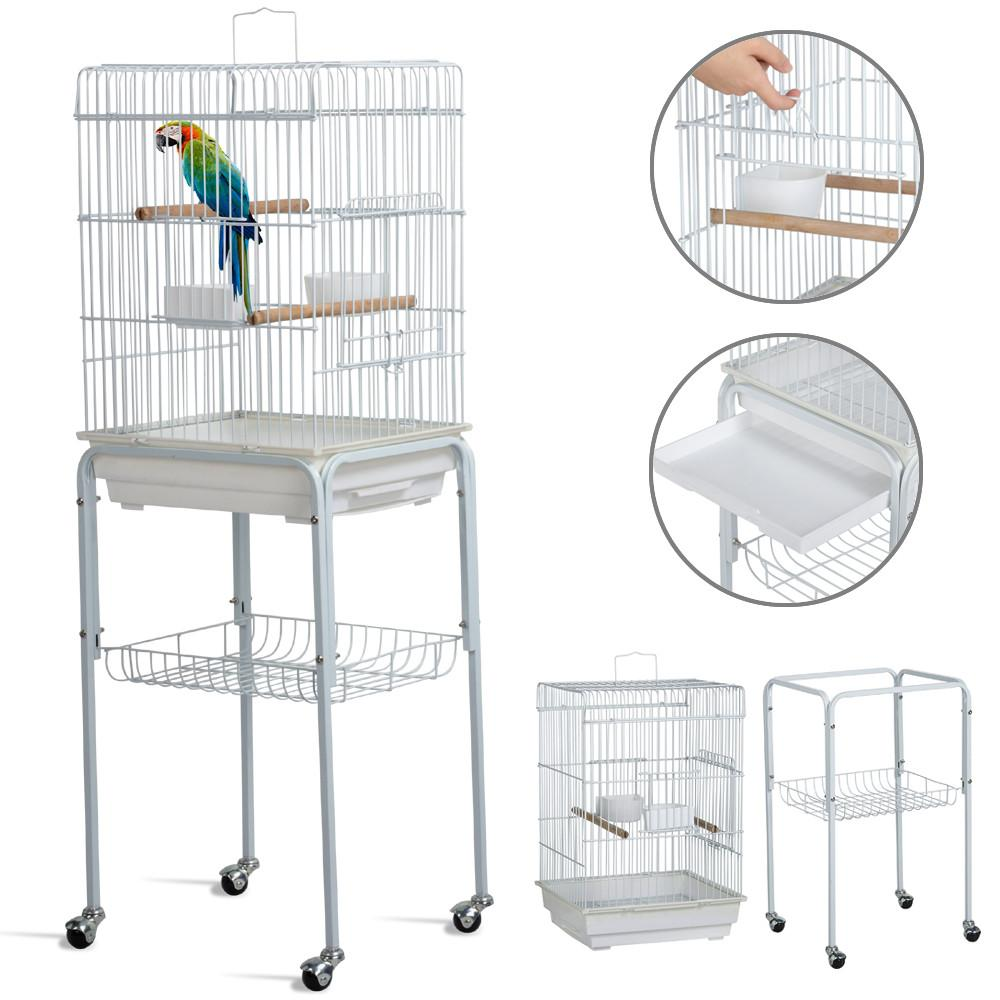 Yaheetech Iron Parrot Bird Cage House Pet w/Wheels White