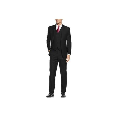 Salvatore Exte Mens Suit Vested Three Piece Blazer Jacket Dress Vest Plus Pants Black