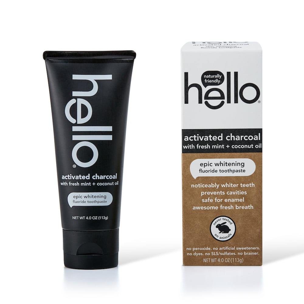 Hello Activated Charcoal Fluoride Whitening Toothpaste With Fresh