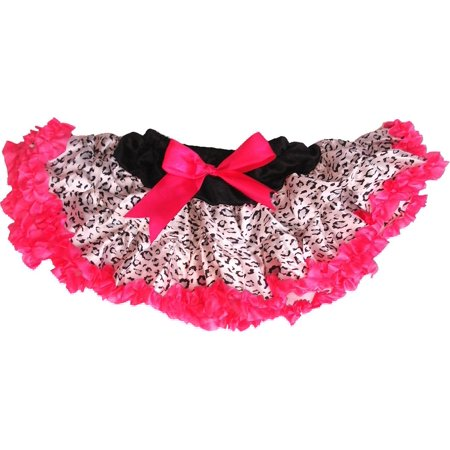 Wenchoice Girl'S Black Cheetah Satin Tutu With Hot Pink Trim  - Cheech Tutu