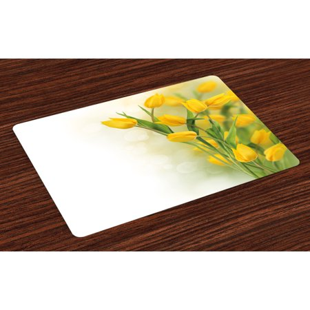 Famous Flower - Yellow Flower Placemats Set of 4 Romantic Tulip Bouquet Famous Plant of Netherlands Botanical Theme, Washable Fabric Place Mats for Dining Room Kitchen Table Decor,Mustard Fern Green, by Ambesonne