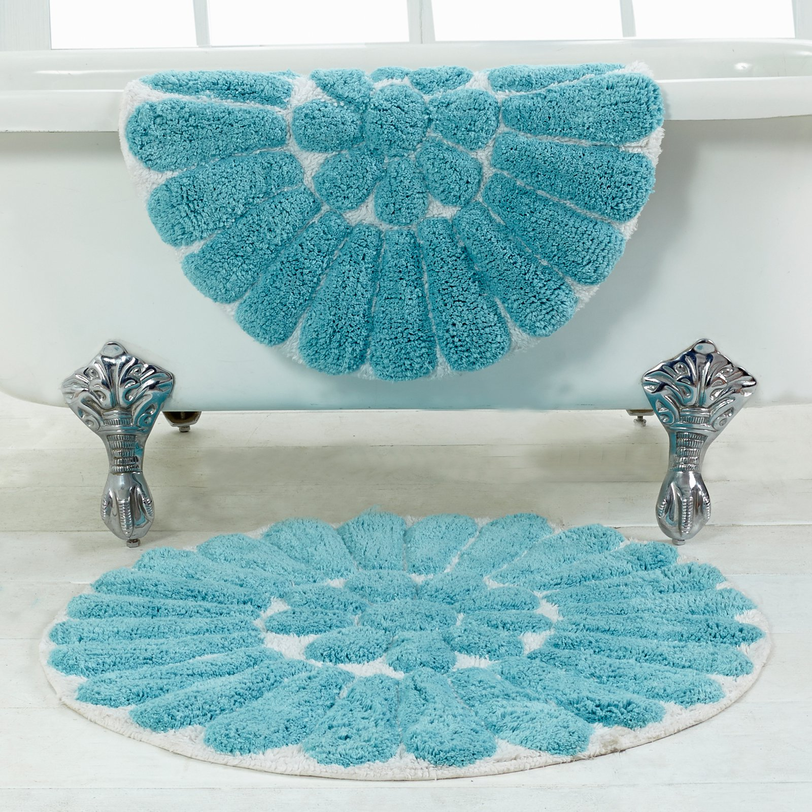 Bathroom rug set - Bursting Flower 2 Piece Bath Rug Set 24 And 30 Round White Coral Walmart Com