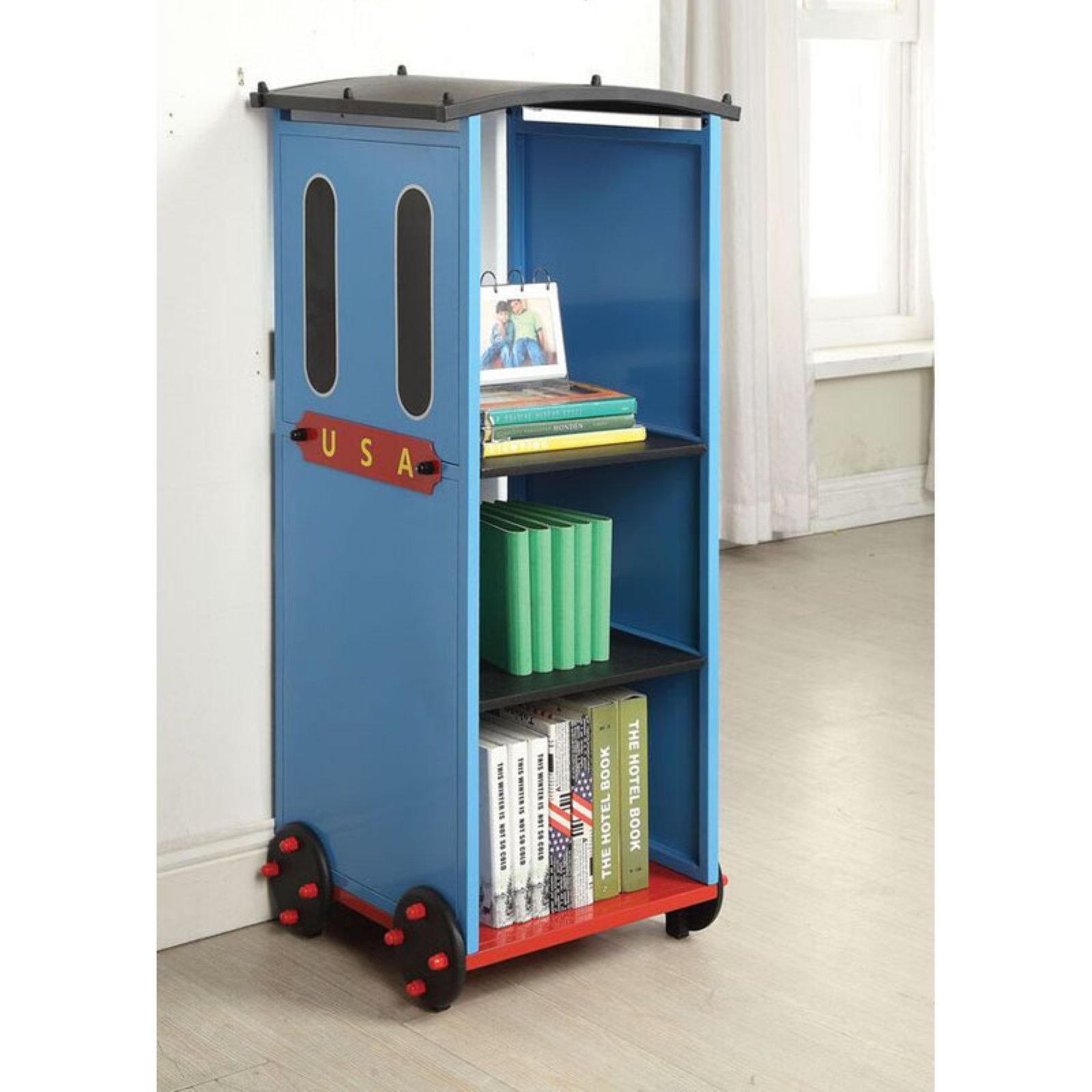 Acme Tobi Bookcase, Blue/Red and Black