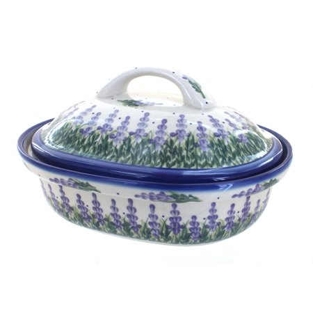 Polish Pottery Lavender Fields Roaster with Lid ()