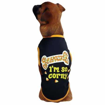 Casual Canine I'm So Corny Tee Black  MEDIUM