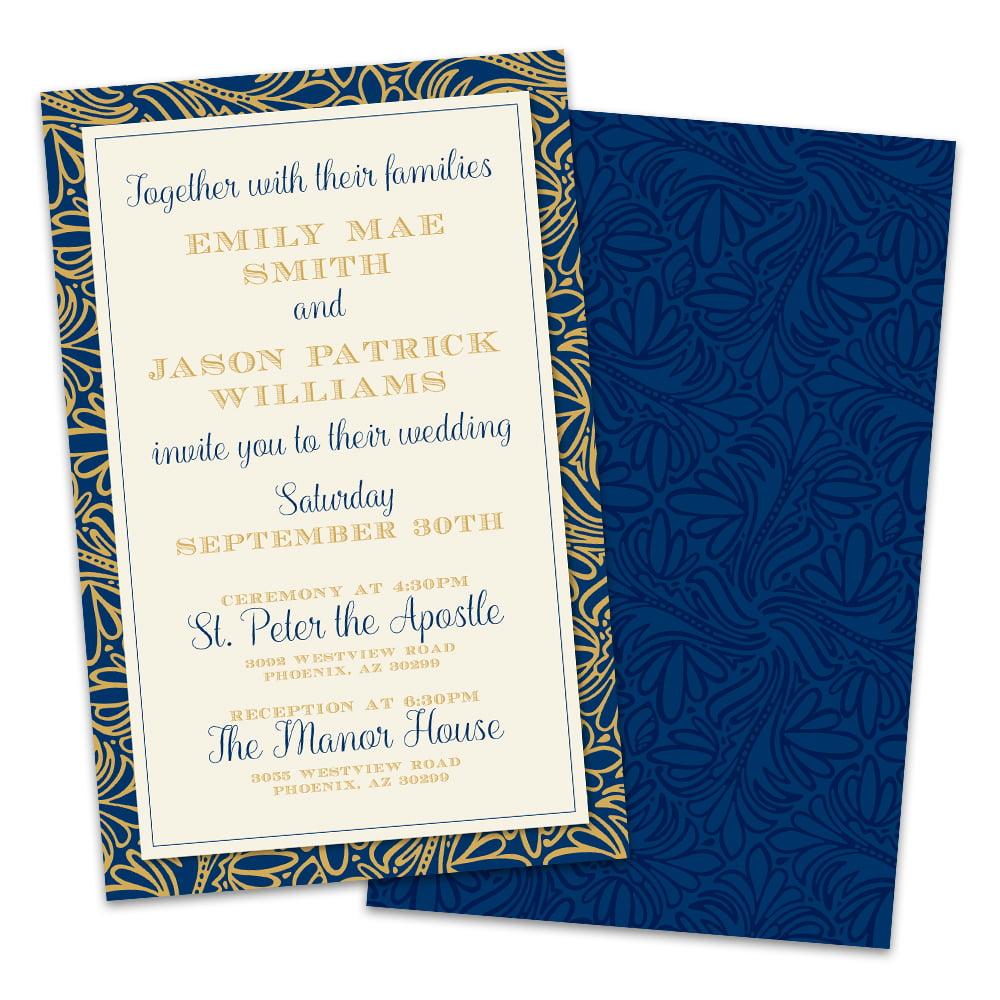 Personalized Golden Midnight Wedding Invitations