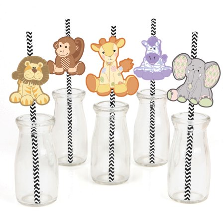 Zoo Crew - Paper Straw Decor - Zoo Animals Baby Shower or Birthday Party Striped Decorative Straws - Set of 24
