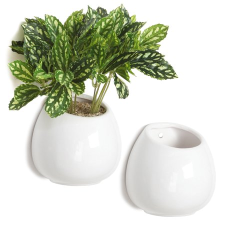 4 Inch Small Wall Mounted Ceramic Flower Plant Vase, Succulent Planter Pots, Set of 2, (Freda Wall Mount Planter)