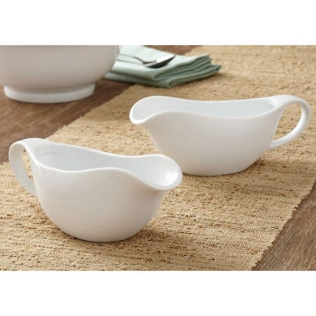 Better Homes and Gardens Porcelain Gravy Boats, White, Set of 2