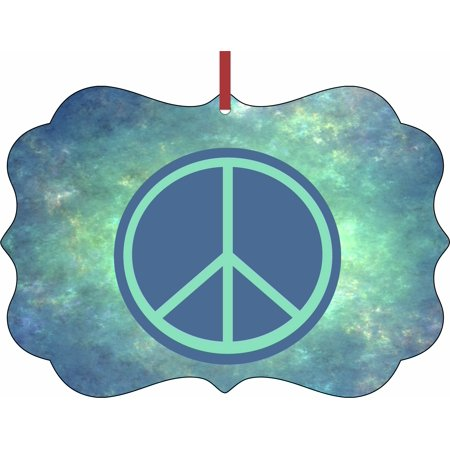 peace sign on blue watercolor Hanging Benelux Shaped Tree Ornament - (Flat) - Double Sided - Holiday - Christmas - Tm - Made in the - Peace Sign Ornaments
