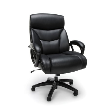 Big & Tall Executive Leather Office Chair Black - OFM