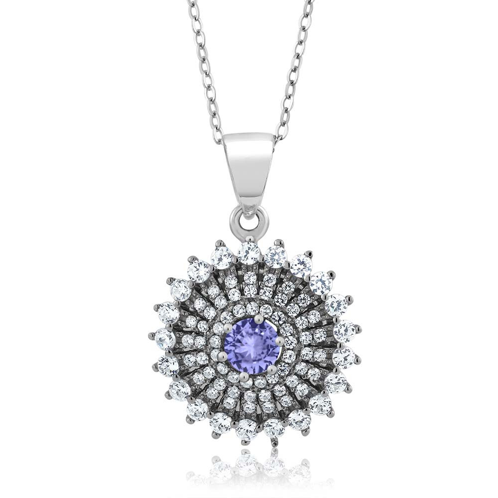 1.62 Ct Round Blue Natural Tanzanite 925 Sterling Silver Pendant Necklace by