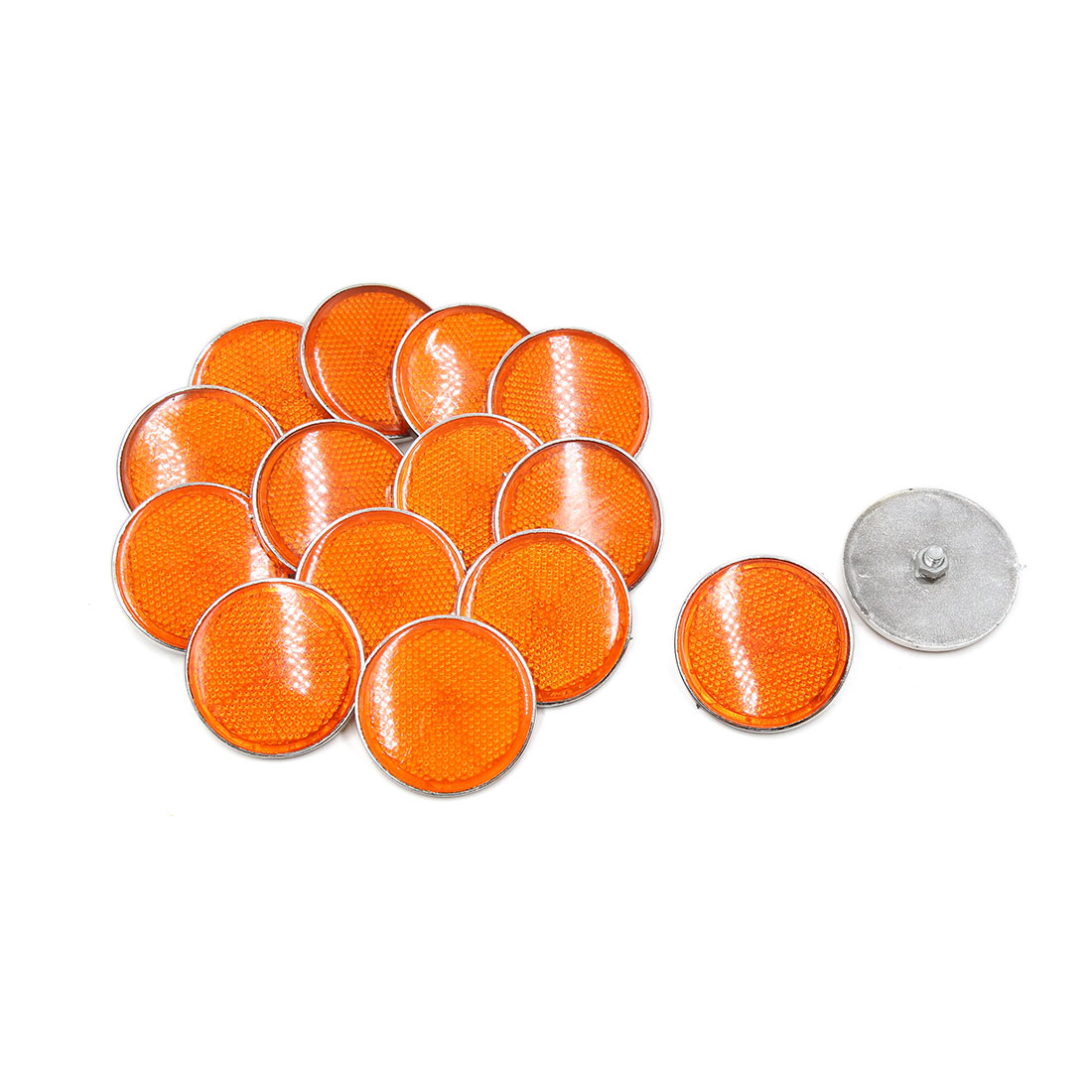 15 Pcs 55mm Dia Orange White Plastic Round Reflective Reflector for Motorbike - image 2 de 2