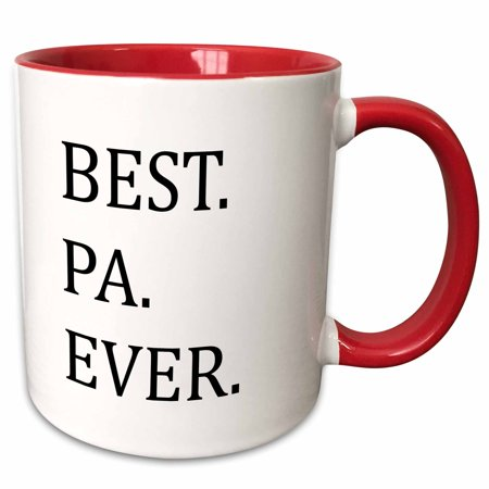 3dRose Best Pa Ever - Gifts for dads - Father nicknames - Good for Fathers day - black text - Two Tone Red Mug,