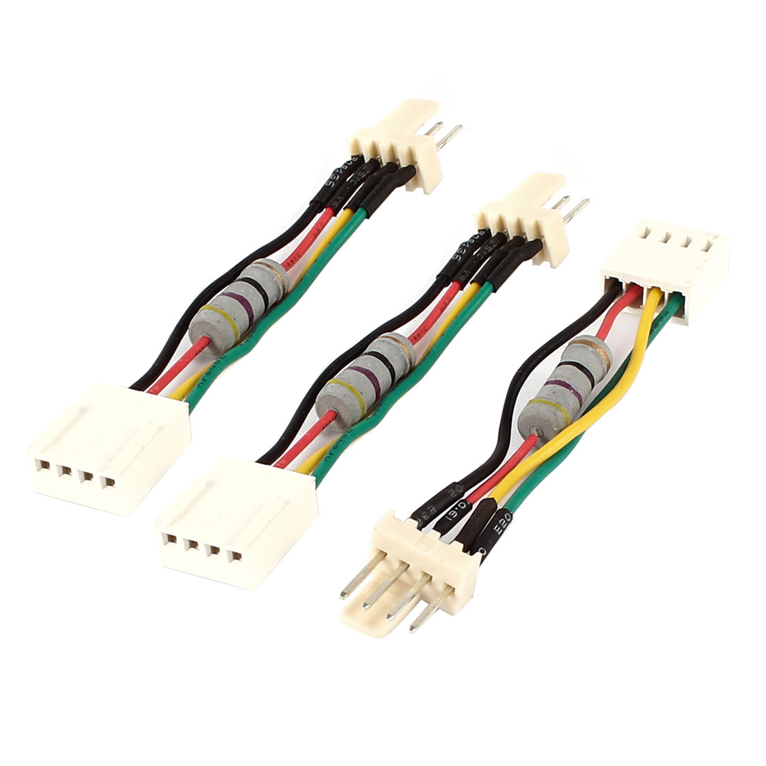 3 Pcs PC PWM Fan Speed Noise Reduce 4 Pins 4Wires Resistor Cable