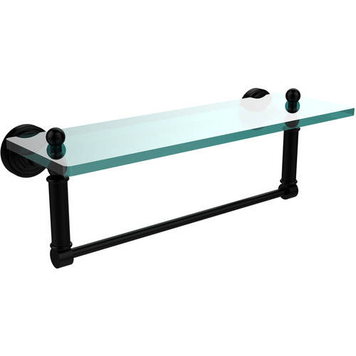 "Waverly Place 16"" Glass Vanity Shelf with Integrated Towel Bar (Build to Order)"