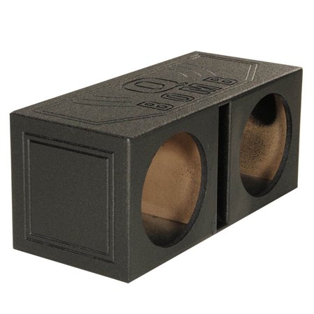 QPower QBOMB10V Dual 10 Inch Vented Port Subwoofer Sub Box w/ Bedliner Spray Dual Down Fire Subwoofer