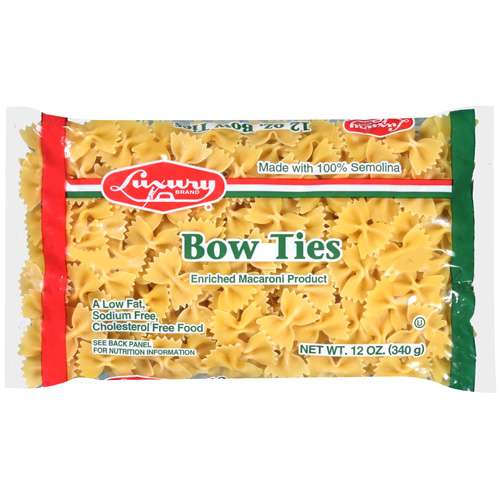 Luxury: Pasta Bow Ties Enriched Macaroni Product, 12 Oz