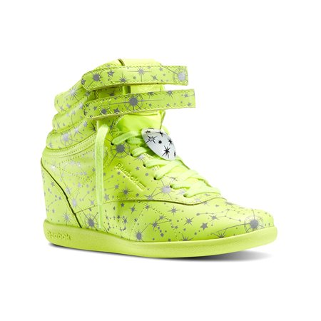 Reebok M47470 Womens Classic Melody Ehsani X Freestyle Hi Wedge Graphic Leather Sneakers Yellow Silver White size