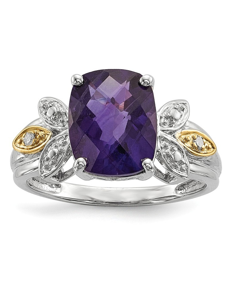 925 Sterling Silver (0.02cttw) and Amethyst and Diamond Ring Size-7 by