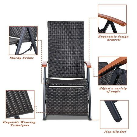 Aluminum Rattan Lounge Chair Recliner Patio Garden Furniture Folding Back - image 6 of 10