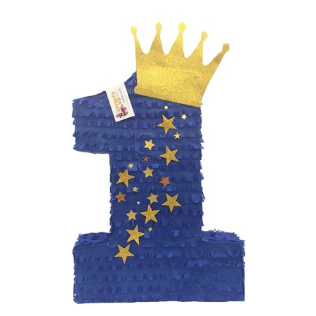 APINATA4U Royal Blue & Gold Crown Number One Pinata Little Prince Theme Party Favor - Carnival Themed Pinata
