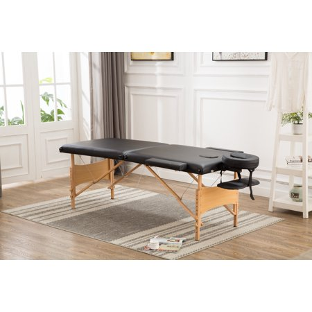 "Merax New Black 84"" Portable Massage Table PU leather Square angle Massage Table"