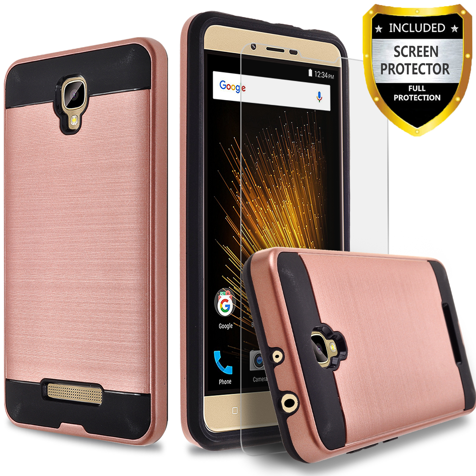 BLU Studio C HD Case, 2-Piece Style Hybrid Shockproof Hard Case Cover with [Premium Screen Protector] Hybird Shockproof And Circlemalls Stylus Pen (Rose Gold)