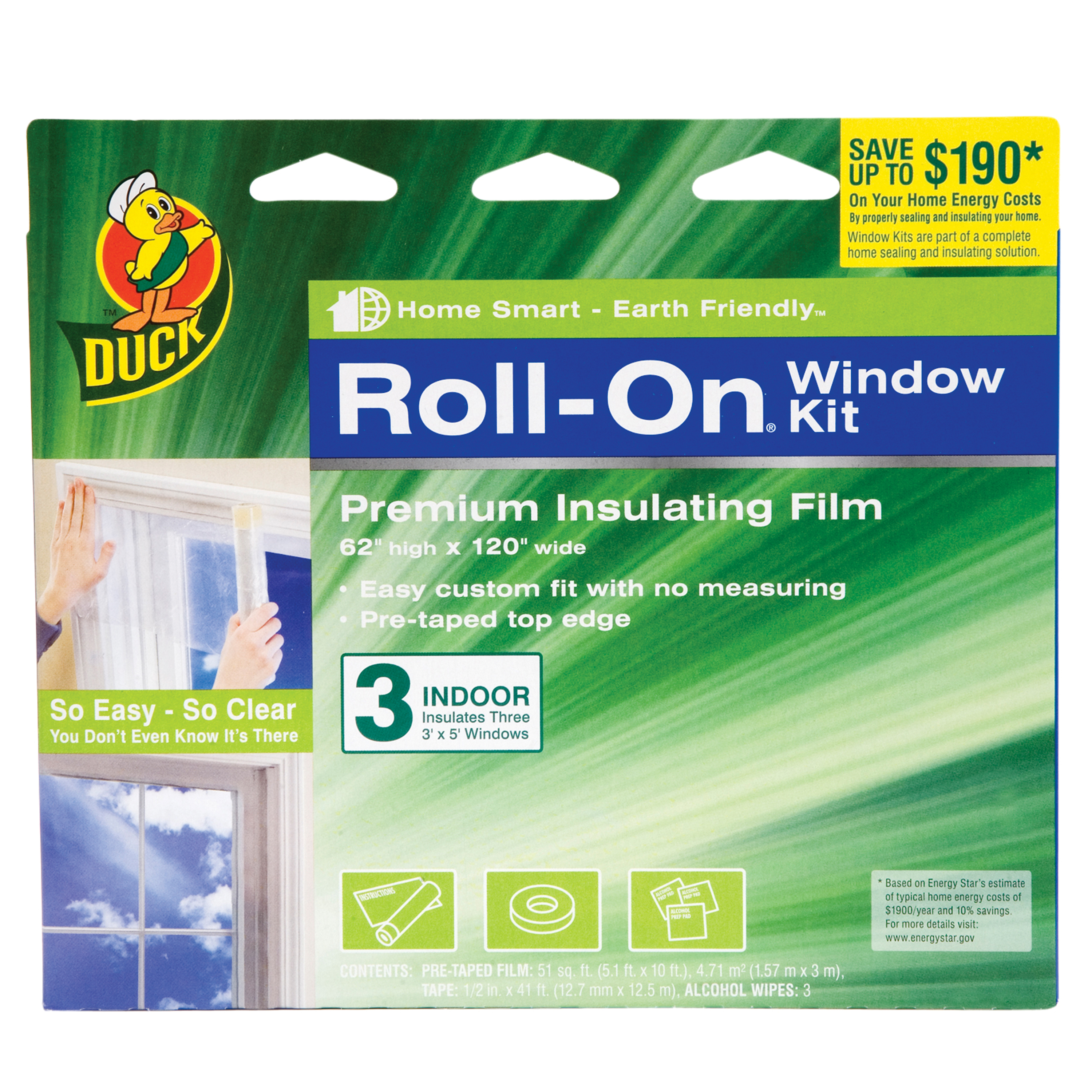 Duck Brand Roll-on Window Kit, Indoor, 3pk
