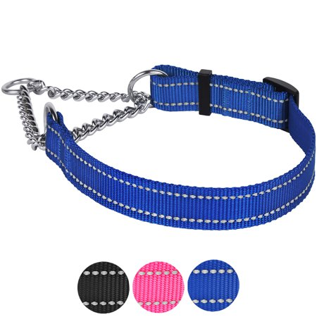 Martingale Dog Collar Adjustable Nylon Pet Choke Collars Training Stainless Steel Chain for Medium Dogs, Blue