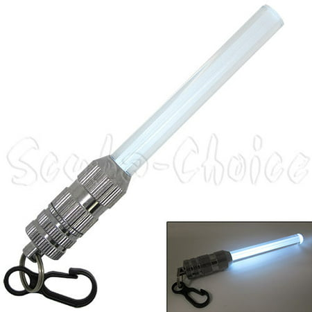 (Scuba Diving Free Dive Spearfishing Safety Mini LED FLASHING Light Stick w/ Clip (White))