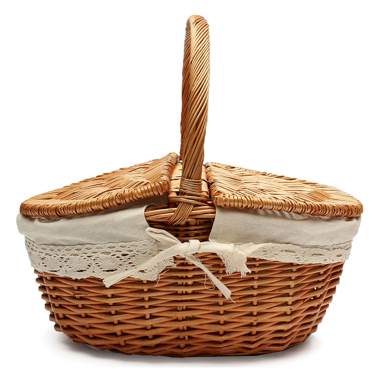 Meigar Wicker Storage Basket DASARA Up to 10KG Willow Basket Picnic Basket with Red Gingham Liner Lid and Handle Shopping Hamper