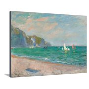 Boats Below the Pourville Cliffs; Bateaux Devant Les Falaises De Pourville, 1882 Coastal Beach Ocean Impressionism Landscape Stretched Canvas Print Wall Art By Claude Monet
