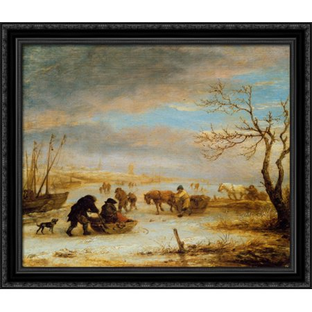 Frozen Ice Landscape with Carriages and Boats 32x28 Large Black Ornate Wood Framed Canvas Art by Isaac van Ostade - Love Boat Isaac