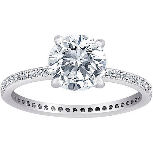 Majestic MicroPave CZ Solitaire Eternity Ring in Sterling Silver