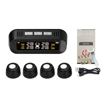 Tire Pressure Sensor Intelligent Voice Warning Tire Pressure Monitor System Wireless Solar Powered TPMS LCD Display with 4 External