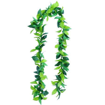 Hawaii Luau Party Maile King Artificial Fabric All Green Leaves Long Open Lei (Maile Lei)