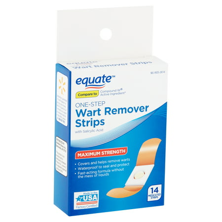 Equate Maximum Strength One-Step Wart Remover Strips, 14