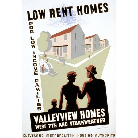 New Deal Wpa Poster Nlow Rent Homes For Low Income Families Valleyview Homes American Poster For The Cleveland Metropolitan Housing Authority Announcing A New Low Income Housing Development Silkscreen