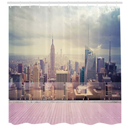 Modern Shower Curtain, New York City Usa Landscape from Roof Apartment Balcony Photograph Image, Fabric Bathroom Set with Hooks, 69W X 75L Inches Long, Grey White and Pink, by Ambesonne ()