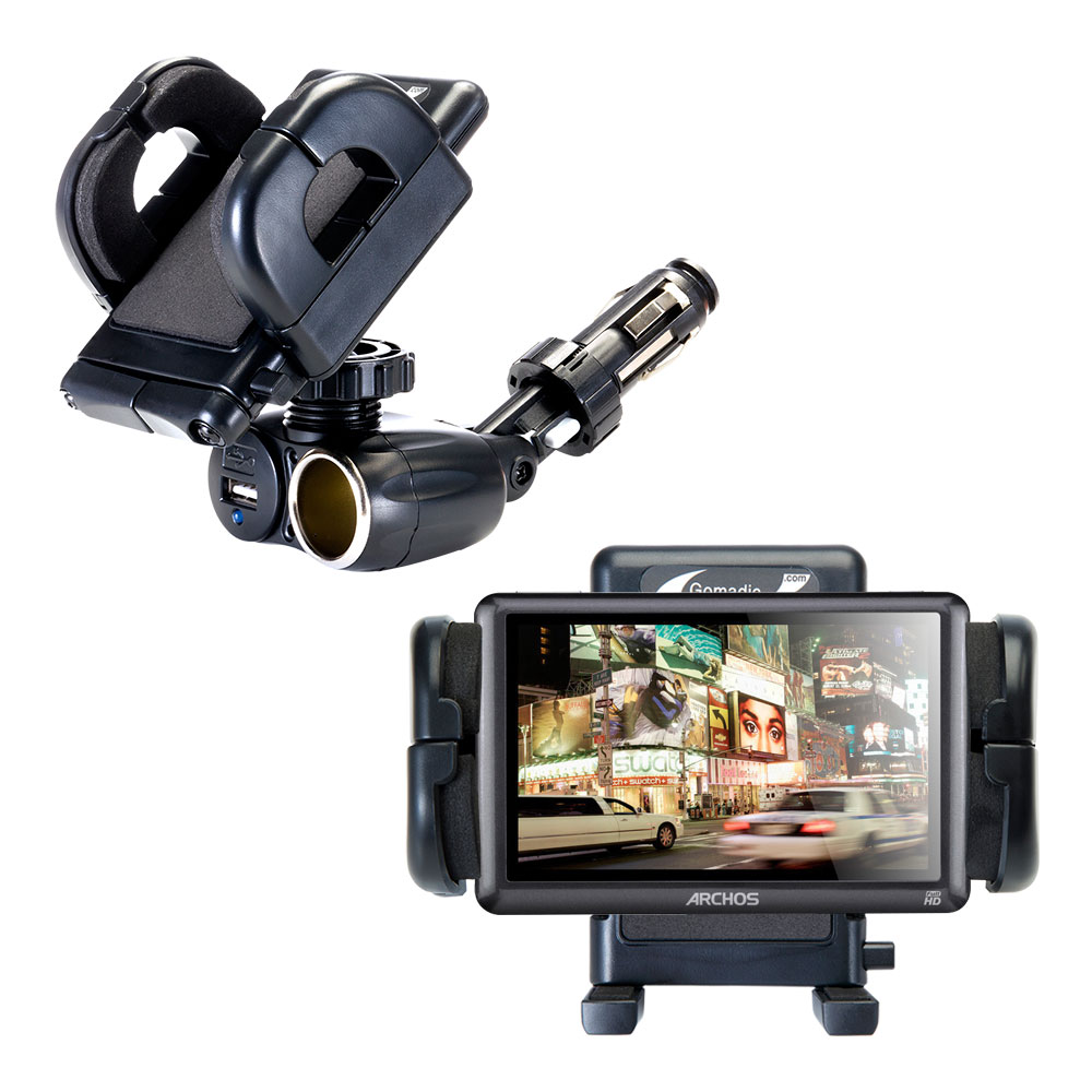 Dual USB   12V Charger Car Cigarette Lighter Mount and Holder for the Archos 50b Vision by Gomadic