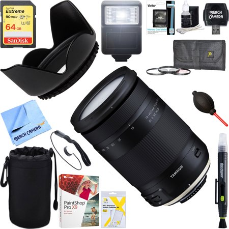 Tamron 18-400mm f/3.5-6.3 Di II VC HLD All-In-One Zoom Lens for Nikon Mount + 64GB Ultimate Filter & Flash Photography Bundle
