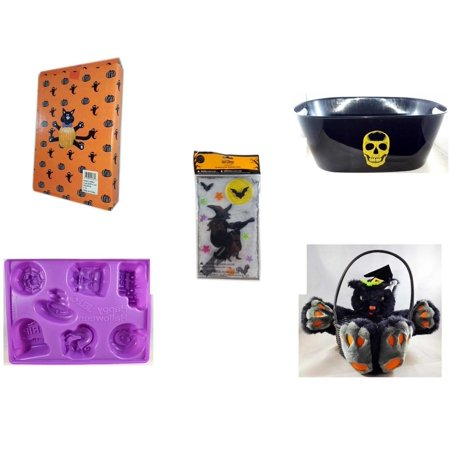 Halloween Fun Gift Bundle [5 Piece] -  Cat Pumpkin Push In 5 Piece Head Arms Legs - Black With Skeleton Oval Party Tub - Gel Clings Witch, Bats, Stars - Happy  Jell-O Mold - Plush Black Cat  Basket - Halloween Jello