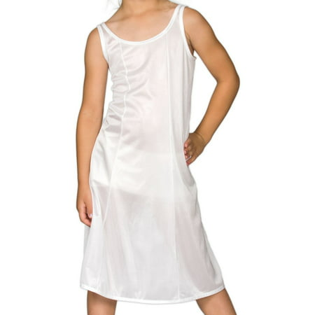 Christening Day Girls White Sleek Nylon Slip - Tea (Tea Length Nightgown)