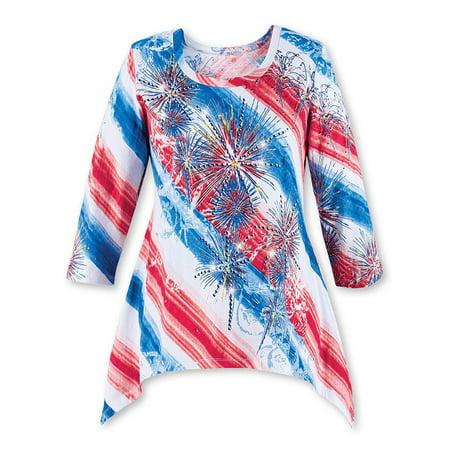 Diagonal Stripe Shirt (Women's Diagonal Striped Starburst Sequin Fireworks Scoop Neck Top with 3/4 Sleeves - Festive Patriotic Shirt, Large, White)