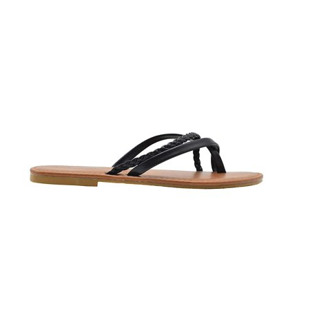 Chatties Ladies Fashion Sandals 8 M US Smooth Pu Thong Slip On Flats with Braid Detail