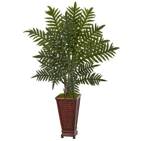 Bloomsbury Market Artificial Plastic Evergreen Plant Floor Palm Tree