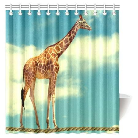 MYPOP Animal Decor Shower Curtain, Giraffe Walking on the Rope Fabric Bathroom Shower Curtain Set, 66 X 72